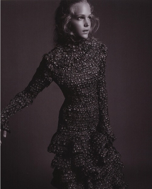 Esti Ginzburg in Alexander McQueen for L'Officiel - feather dress