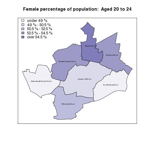 Female percentage of population:  Aged 20 to 24