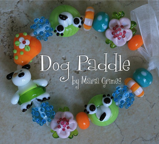 Dog Paddle Lampwork Beads