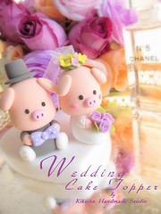 Wedding Cake Topper -Handmade lovely and cute piggy and piglet (charles fukuyama) Tags: art piggy pig bowtie bouquet sweetheart customcaketopper piggycaketopper pigletcaketopper
