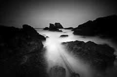 Pipe Dreams (*K*aren) Tags: sea blackandwhite seascape monochrome night dark mono scotland rocks pipe coastal le yup stabbs wwwphotomusocouk ohayeandapipe karenatkinson2012
