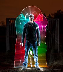 Eslider (FDU4) Tags: longexposure light portrait lightpainting black color silhouette vertical night dark painting rainbow colorful spectrum outdoor led human simple v24