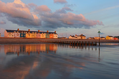 Evening view from the sea. (John Ibbotson (catching up!)) Tags: sunset sea sky beach wales clouds reflections coast seaside ceredigion borth