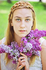 wendla bergman (Vanessa Vokey) Tags: show old flowers trees summer white flower green floral grass socks hair frank spring high shoes play awakening theatre lace literary 1800s broadway ivory literature thigh musical lilac oxford blonde shorts knee lilacs braid wedekind