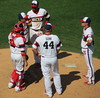 Changing of the Guard...er, Pitcher (Lucyrk in LA) Tags: park chicago playing men field work outside outdoors illinois spring play gbrearview mask sandiego baseball working guys diamond il padres pitch catcher pitcher whitesox pitching gapersblock chicagoland mlb chicagotribune chicagoil comiskeypark uscellularfield sandiegopadres chicagowhitesox chicagoist majorleaguebaseball chicagoreader