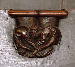 Cappenberg, Westfalen, Stiftskirche, stalls, misericord with friends ; north side #19 (groenling) Tags: wood man germany de deutschland head carving nrw holz stalls woodcarving grotesque westfalen stiftskirche nordrhein misericord cappenberg chorgesthl