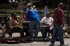 Between Sets (K-Rock Design) Tags: street music color colour musicians neworleans horn performers sax brass 2013 krockdesign jitaekpark