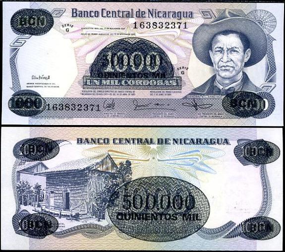 500 000 Cordobas na 1000 Cord. Nicaragua 1987, pretlač Pick 150