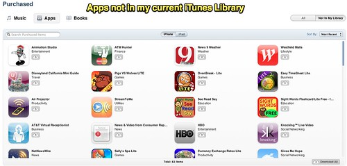 Apps not in my current iTunes Library