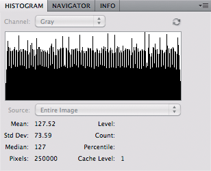 Grayscale with noise - histogram
