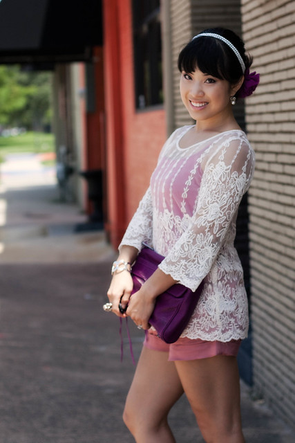 forever 21 lace brocade top forever 21 pink woven shorts menbur comerre glitter pumps rebecca minkoff convertbile magenta mac clutch pink tank top sproos sprooshop pearls of wisdom stretch headband sproos purple chiffon flower clip
