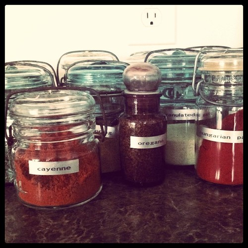House warming gift. Bulk spice and vintage jars. I labeled them!
