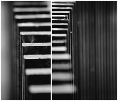 Patterns (Katka S.) Tags: bw white black london contrast high diptych dof britain many united great kingdom repetition repeat englad shalow