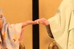 Maiko-san performance (appow) Tags: show travel portrait woman girl fashion japan female canon asian person photography japanese kyoto hand emotion feminine performance sensual maiko geiko geisha    kimono dslr seductive 2012  handinhand      50d   ef70200mmf28lusm maikoichiwaka