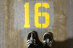 16 (blech) Tags: sanfrancisco bay stencil number 16 lookingdown carpark motorcycleparking stoplookdown
