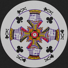 Round Playing Card King of Clubs (Leo Reynolds) Tags: playing club canon court eos iso100 king deck card round squaredcircle clubs 60mm f80 circular playingcard carddeck 01sec 40d hpexif courtcard xleol30x sqset079