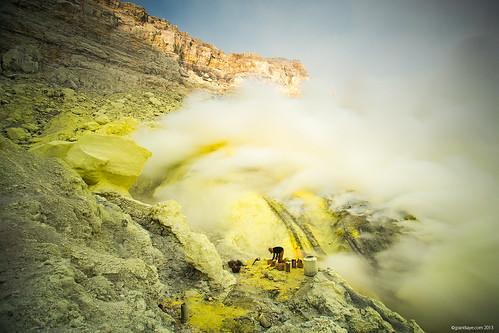 Sulfur Miner, Ijen Volcano, Java, Indonesia