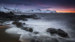 [ ... arctic sunrise ] (D-P Photography) Tags: ocean red sun snow mountains sunrise canon landscape island iceland waves purple nd peninsula snaefellsnes budir ndgrad leefilters dpphotography longtimeexpsure