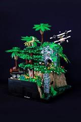 Jungle Showdown (jsnyder002) Tags: lego moc creation jungle adventurers model swamp temple ruins plane truck landscape pillar
