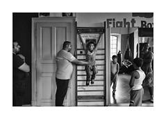 Workout (Jan Dobrovsky) Tags: bw bohemia boxing document gypsies indoor krasna leicam lipa monochrom northern people roma summicron28mm village