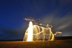 Hephaestus, God of Fire (Ningaloo.) Tags: light sky art wool animals painting shower fire wire nikon long exposure god pigeon steel clay lp shooting sparks raining tamron range guernsey 1024 sooc portinfer d5000 hephaestis