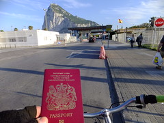 Passport at the ready (stevenbrandist) Tags: bicycle cycling spain cyclist crossing border eu espana therock passport gibraltar europeanunion thefrontier
