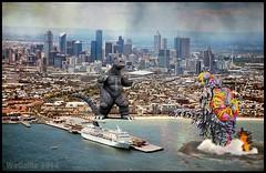 Godzilla vs. Hedorah (WoGzilla  ) Tags: city art water photomanipulation buildings fun fan smog australia melbourne battle godzilla monsters kaiju gojira hedorah