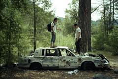 The dead car. (Vector Collapse) Tags: trip chris friends 2 summer film broken car analog 35mm river fun woods eric shot kodak olympus scan trail 200 xa expired colorplus