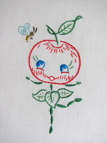 happy apple child embroidery - finished