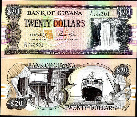 20 Dolárov Guyana 1996, Pick 30