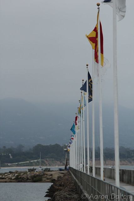 Flags Along Harbor Breakwater Facing Butterfly
