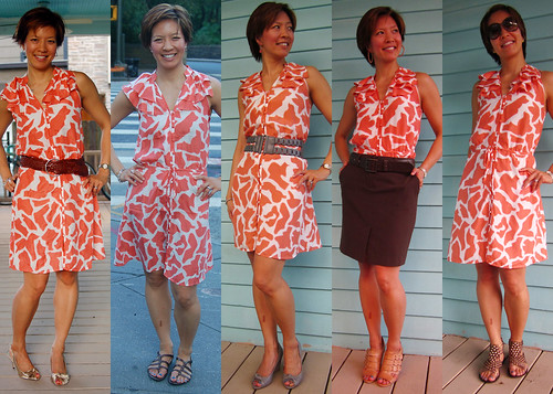 orange giraffe print dress 01