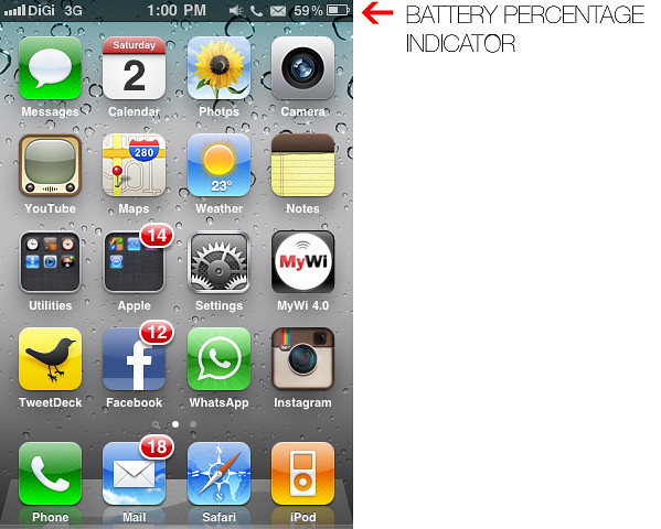 How To: Show Battery Percentage Indicator On iPhone