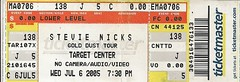 07/06/05 Stevie Nicks @ Target Center, Minneapolis, MN (Ticket)