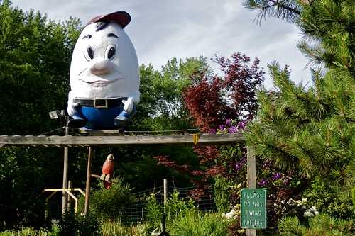 Humpty Dumpty, making sure you heed the sign.