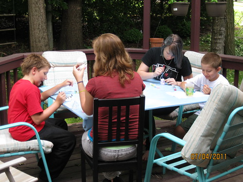 7/4/11: The kids painting.