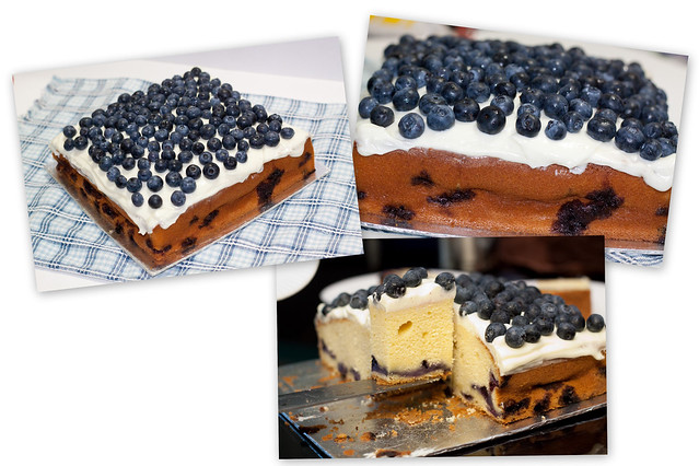 blueberry cake with cheesecake frosting