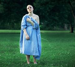 The Disease (KatB Photography) Tags: blue selfportrait green nature female outdoors hope sadness bald depression sick iv disease hospitalgown nikond60