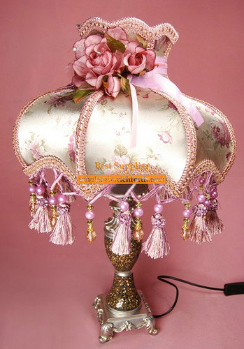 Romantic Table Lamp with Fabric and Lace Shade