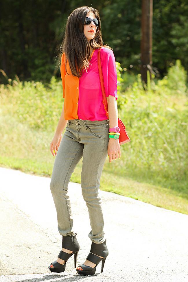 Color Block, Color Blocking, Khaki Army Hudson skinny jeans, Strappy platform sandals, Red Kate bag, Minkpink sunglasses, Outfit, Fashion blog