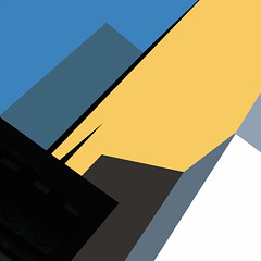 Vertigo - Explore Position No. 17 [April 8, 2012] (lawroberts) Tags: new york city nyc blue building geometric yellow architecture photoshop buildings gold high chelsea geometry manhattan minimal line explore reducing reduced reduce reduction reduc explored