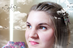 """Day 117: """"Oh to Fly Away"""" (FallingLeavesPhotography) Tags: portrait cloud bird girl birds clouds fly flying portraiture 365 dreamer selfportraiture daydreamer selfportriat yellowknife daydreaming 366 headintheclouds creativeportrait"""
