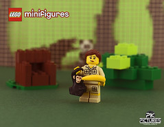 Zookeeper (Peter von Kappel) Tags: monster fence zoo monkey bush chair panda lego banana zookeeper minifigure minifigures