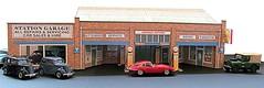 1/43 scale garage with pumps and showroom (kingsway john) Tags: kingsway models card kit omdg 143 scale building diorama model garage showroom pump petrol shell bp esso regent