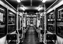 Tram to Astoria [Explored: 30-9-2016 20:20 GMT] (Chacky) Tags: hungary budapest bus building buda blackandwhite bw black block tram travel young symmetrical symmetry symetrical subway subways europe traveling traveler train morning flickr canon camera canon600d monochrome perspective central one point linear