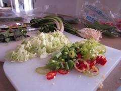 Vegetables on their way into mock Bun Oc