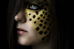 Cheetah (Lou Bert) Tags: wild portrait art girl face animal self paint heart makeup cheetah