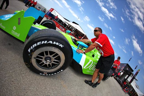 Bright color scheme for the weekend on Dario Franchitti's car
