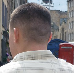 Scalped (GusRoman) Tags: haircut hair buzz barbershop crop barber cape crewcut burr gel clippers nape wahl