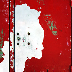 Guillotine (daliborlev) Tags: red abstract texture metal square blood lisbon urbandecay profile surface mundanedetail humanface